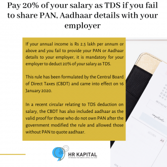 Pay 20% of your salary as TDS if you fail to share PAN, Aadhaar details with your employer